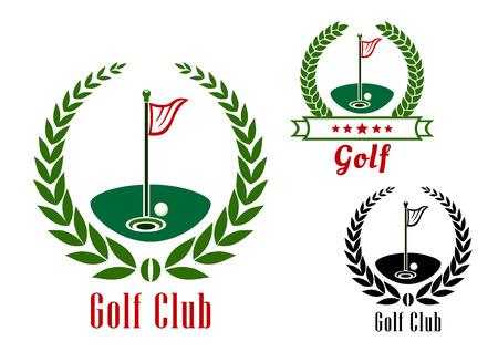 Golf club di diam con la palla vicino alla buca sul campo verde e flagsticks circondato da corone di alloro e nastro bandiera Archivio Fotografico - 41627130