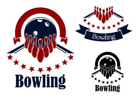bolos: Bowling insignias o emblemas en los colores azul y rojo con pistas de bolos, bolos y bolas adornadas con estrellas semic�rculos y banderas de la cinta Vectores