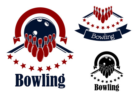 Bowling badges or emblems in blue and red colors with bowling lanes, ninepins and balls adorned with stars semicircles and ribbon banners Illustration