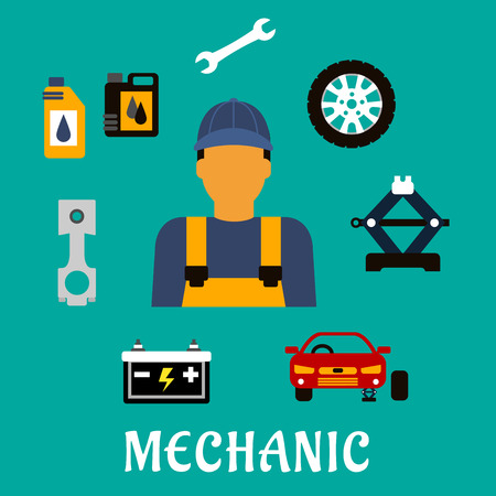 crankshaft: Mechanic profession flat concept with man in uniform overalls and cap, car fixed on jack screw, wheel, piston crankshaft, wrench, motor oil, canisters and battery icons
