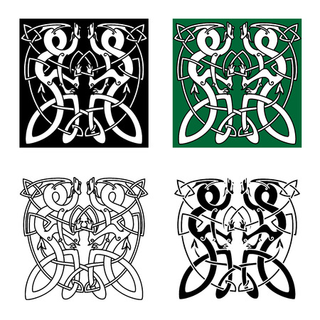 Ancient celtic animal ornaments with twisted dragons in tribal style for tattoo or totem animal design