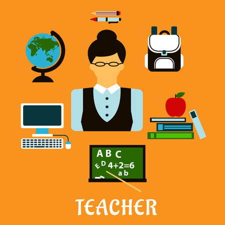 school computer: Teacher profession flat concept with woman in glasses surrounded by school supplies icons such as schoolbag, blackboard, desktop computer, globe, pen, pencil, books and apple Illustration
