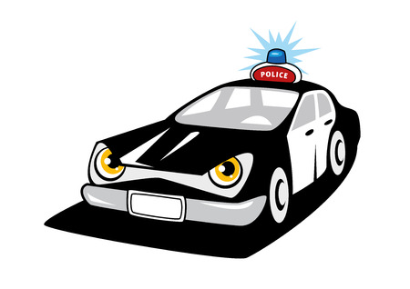 police officer: Black and white police car cartoon character with flashing siren and police sign on the roof for justice design Illustration