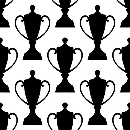 lids: Black and white trophy cups seamless pattern background with decorative lids and rounded curved handles for sports design