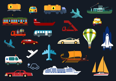 airplane: Transportation flat icons with airplanes, aircraft steps, hot air balloon, shuttle, bus, cars, taxi, ambulance, tank truck and wagon, electric train, yacht, barge, cruise liner, trawler and galley