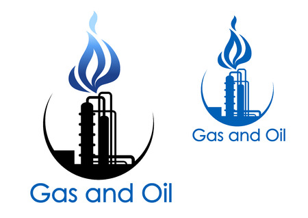 oil and gas: Gas and oil industry symbol with extensive piping of industrial process plant with blue gas flames