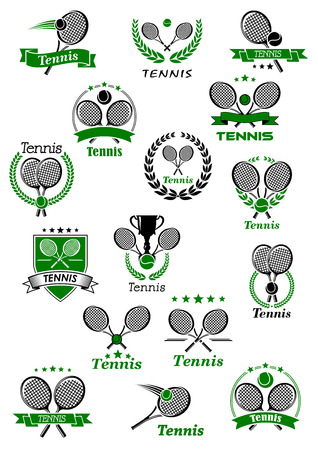 cross match: Tennis club or tournament cup emblems with balls, crossed rackets and trophy cup adorned with heraldic shield, laurel wreaths, ribbon banners and stars Illustration