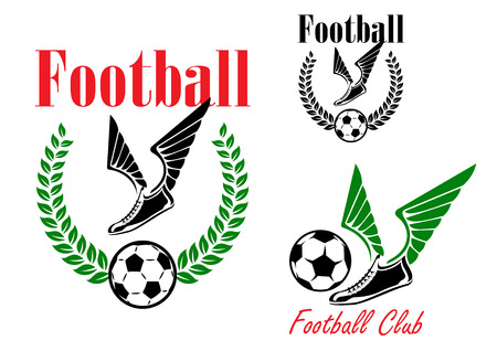 soccer boots: Football or soccer emblems with winged boots, balls and laurel wreath
