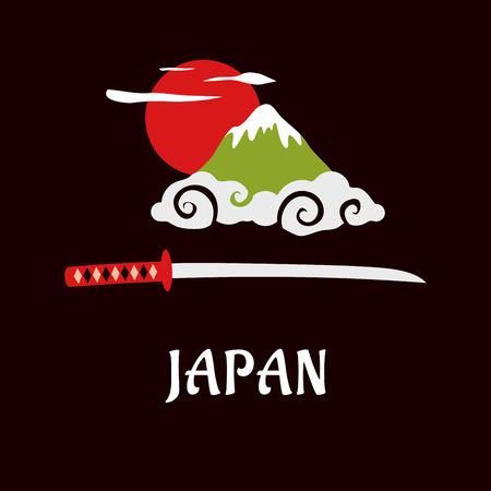 Japan traditional symbols concept in flat style with sacred Fuji mountain in curly white cloud at sunrise red sun and katana samurai sword below with caption Japan