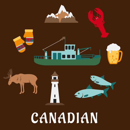 rocky mountains: Symbols of Canada in flat style with rocky mountains, lighthouse, elk, mittens, beer tankard, lobster, fish and fishing trawler