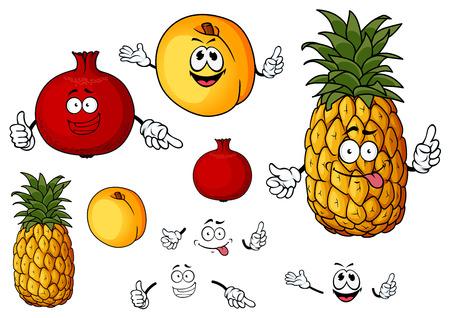 Durazno fresco madura, piña, granada frutas personajes de dibujos animados con las caras divertidas para el diseño de la agricultura aislados sobre fondo blanco