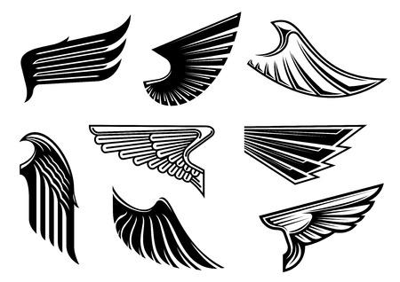 puntig: Zwarte tribal vleugels met spitse bevedering geïsoleerd op wit voor tattoo, religieuze of heraldische ontwerp Stock Illustratie