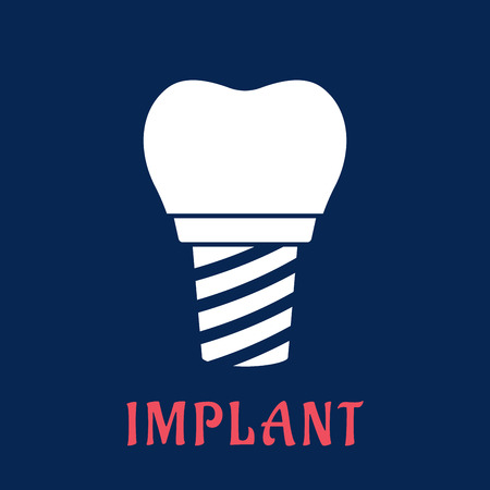 reshape: White silhouette of dental implant in flat style with replacement crown for dentistry concept design