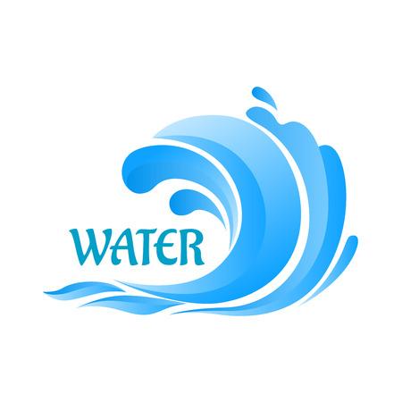 Ola azul Mar símbolo rizo con agua salpica por la ecología o las vacaciones de diseño Vectores