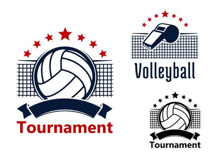 Volleybaltoernooi emblemen ontwerp met ballen, fluiten en netten op de achtergrond, versierd withred sterren en lege lintbanners