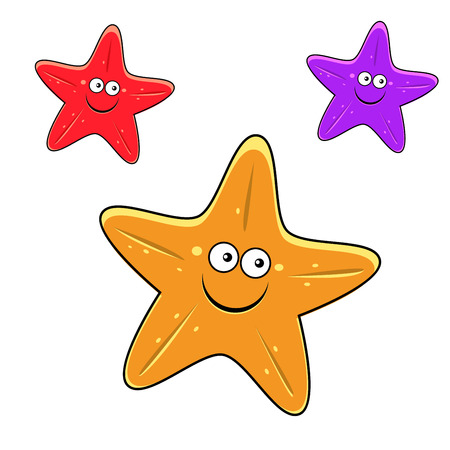 Funny yellow, red and violet starfishes cartoon characters with smiling faces for underwater wildlife design