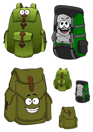 lacing: Travel green backpacks cartoon characters with many pockets, cord lacing and happy faces for travelling or hiking design Illustration
