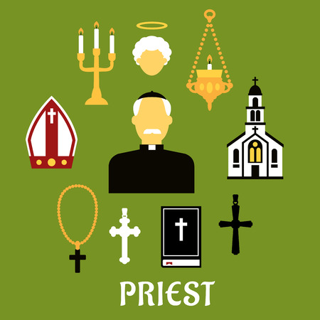 Priest profession flat concept with catholic priest in black robe, clerical collar and zucchetto encircled by church building, crosses, bible, mitre, candelabras and angel silhouette