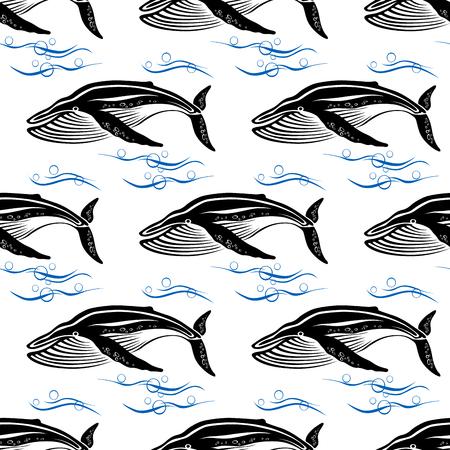 orificio nasal: Grandes cachalotes nadan a través azules olas del mar con burbujas patrón transparente sobre fondo blanco para la vida silvestre o diseño textil