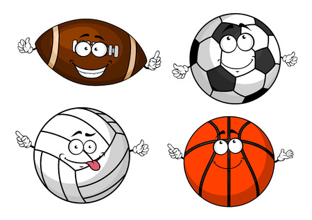 balones deportivos: Fútbol colorido o el fútbol, ??rugby, voleibol, baloncesto bolas personajes de dibujos animados con las caras divertidas para el diseño de la mascota deportiva