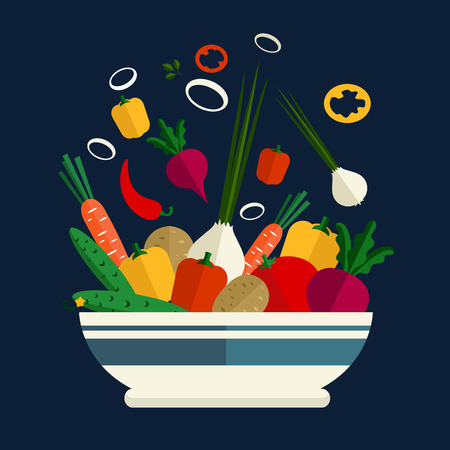 bell tomato: Deep porcelain bowl with whole and sliced fresh tomato, carrots, potatoes, cucumbers, green onions, chili and sweet bell peppers, beets Illustration