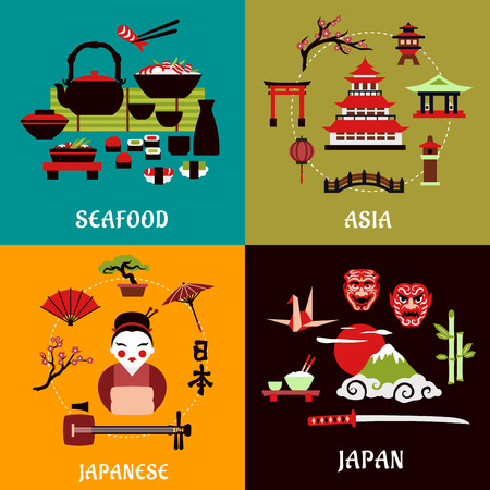 landscape architecture: Japanese culture, history and cuisine flat designs with seafood menu, asian architecture, costume, musical and theatre symbols, nature landscape, bonsai and origami arts Illustration