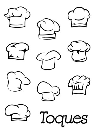 toque: Chef, cook or baker traditional professional toques and hats in outline sketch style for restaurant menu or cooking design