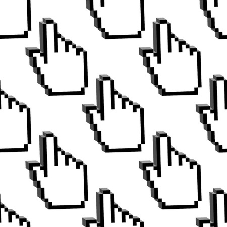 pixelated: Cursor hands seamless pattern with pixelated mouse pointers in 3d style for background or computer design
