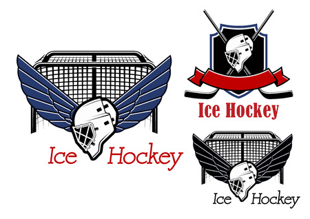 hockey: Ice hockey emblems and icons with hockey gate, winged goalie mask and heraldic shield, crossed stick, helmet and ribbon banner for sports game design