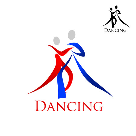 Dance sporting emblem with swirly blue and red silhouettes of dancing people with caption Dancing and small black variant