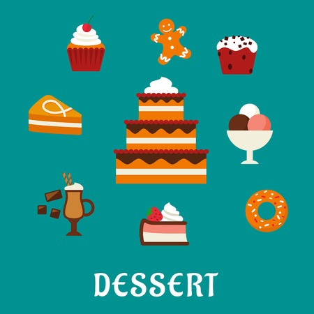 gingerbread cake: Sweet desserts flat concept with three tiered cake decorated with cream, berries, cupcakes, ice cream, donut, slices of honey cake and cheesecake, gingerbread man and hot chocolate