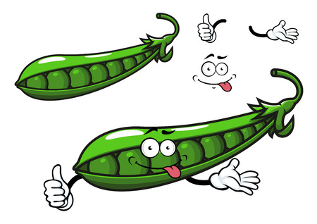 Green pea vegetable cartoon character with bright fresh beans in glossy open pod for healthy food or agriculture design