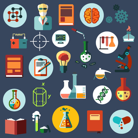 scientist in lab: Science and research flat icons with scientist, laboratory flasks, tubes and burner, microscope, books, idea light bulb, brain, DNA, computer, battery, capsule, notes, geometric figures and gears Illustration