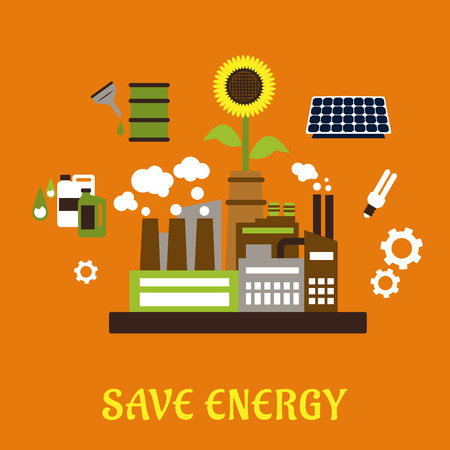 bio fuel: Save energy ecology concept with industrial plant surrounded by solar panel, fluorescent light bulb, sunflower, gears, bio fuel tanks on background