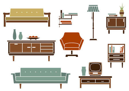 furnish: Flat interior design for living room with wooden chests of drawers and bookshelf, upholstered sofas, armchair, floor lamp in retro style