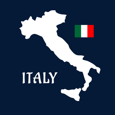 Map of Italy white silhouette with italian national flag in the upper corner on dark blue background for education or travel design