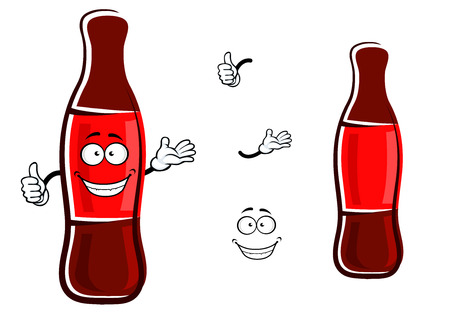 soda bottle: Happy bottle of sweet soda drink cartoon character with blank red label showing thumb up gesture for fast food or takeaway beverage design