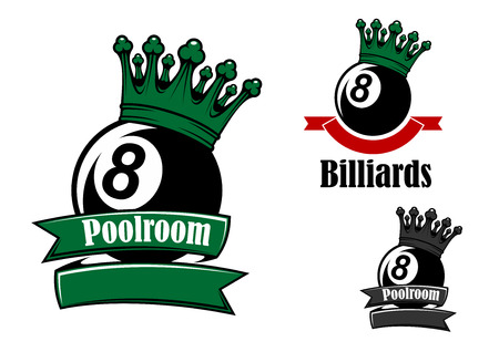 crowned: Crowned black billiards or pool balls sporting emblems with green and red ribbon banners, headers Poollroom and Billiards