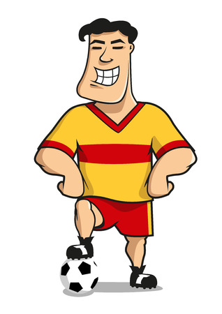 sports uniform: Professional soccer or football player cartoon character in yellow and red sporting uniform standing with one leg on the ball and smiling, for sports mascot design