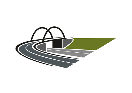 green hills: Highway road turns to the arch bridge between green hills for transportation or road icon design Illustration