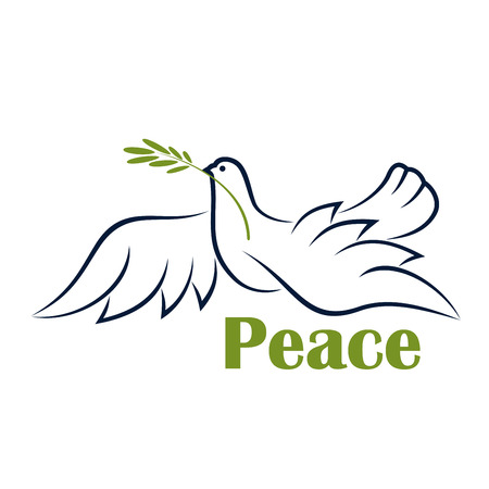 Flying dove with olive branch as symbol of peace in outline sketch style with caption Peace
