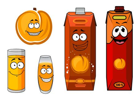 Sunny sweet peach juice cartoon characters with ripe orange peach fruit, bright juice packs and glasses with yellow beverages for food pack or drink design Illustration