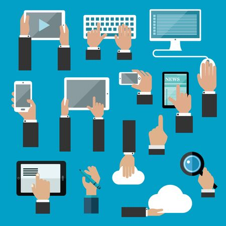 web technology: I dispositivi digitali e la tecnologia concetto di web TV swith mani umane che lavorano su tavolette, computer desktop, tastiera, smartphone, penna digitale, la memorizzazione dei dati di cloud e di ricerca delle applicazioni