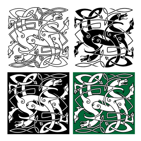 Stylized tribal dragons with twined bodies decorated with traditional celtic interlace pattern for totem animal or tattoo design