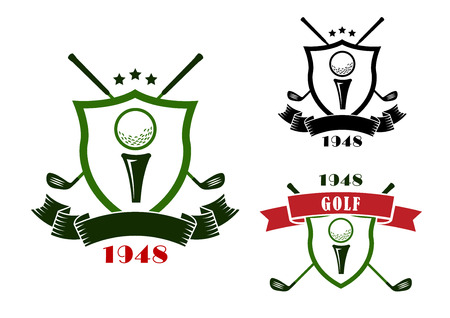 Golf heraldic emblems in retro style with shields, golf balls on start position and crossed clubs behind, decorated with stars and ribbon banners