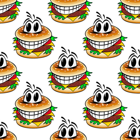 cheese burger: Crazy cheeseburgers seamless pattern of cartoon fast food burger with patty, cheese and vegetables for cafe or takeaway food design Illustration