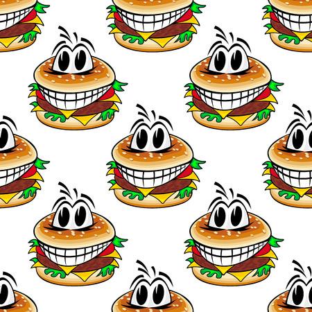 hamburguesa: Hamburguesas con queso locos sin patr�n de dibujos animados r�pida hamburguesa de comida con empanada, queso y verduras para el caf� o comida para llevar de dise�o