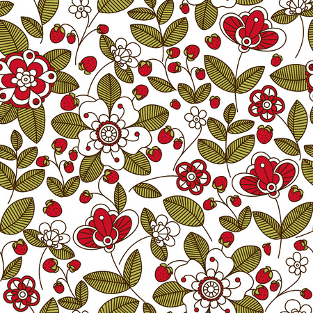 wild strawberry: Wild strawberry floral seamless pattern with stylized red and white flowers and red berries on background for interior or fabric design