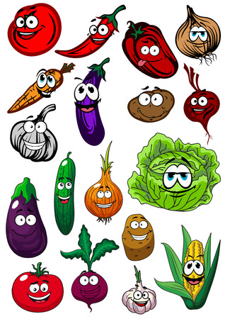 sweet corn: Fresh funny farm tomato, corn cob, cucumber, onion, potato, cabbage, garlic, eggplant, beet, carrot, chili and bell peppers vegetables cartoon characters
