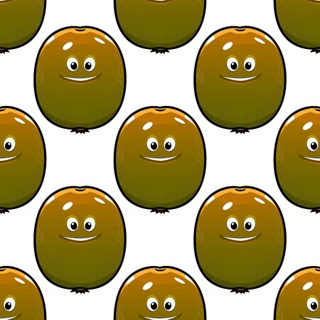 the greenish: Ripe fruity seamless pattern with  greenish brown kiwi fruit cartoon characters on white background for textile or food design
